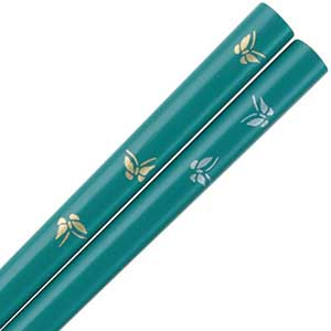 Butterflies of Gold and Silver on Teal Japanese Chopsticks Teal Lacquered Chopsticks, Butterflies chopsticks, butterfly chopsticks, Teal chopsticks, Japanese chopsticks, Japanese style chopsticks