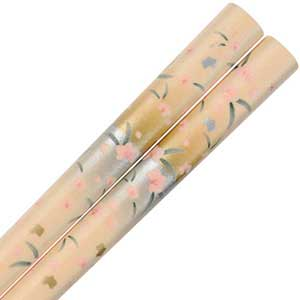 Cherry Blossom Sakura Design on Peach Japanese Chopsticks sakura chopsticks, sakura chopstick, cherry blossom chopsticks, peach chopsticks, peach chopstick, Peach Gold and Silver Sakura Chopsticks