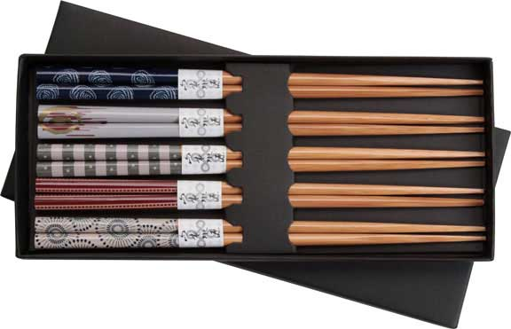 Colored Designs on Bamboo Japanese Style Chopsticks Set of 5 Bamboo Chopsticks with Color patterns, Bamboo chopsticks, chopsticks gift set, Japanese style chopsticks, color designs chopsticks