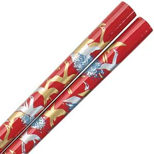 Cranes of Gold and Silver on Red Japanese Style Chopsticks