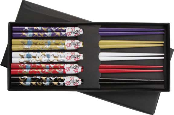 Cranes on Colored Japanese Style Chopsticks Boxed Set of 5 Crane chopsticks, colored chopsticks, chopsticks gift set, crane gift set, Japanese style chopsticks