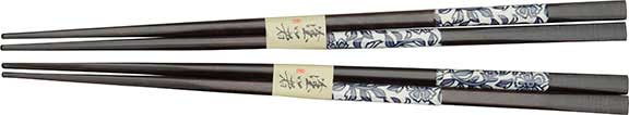 Dark Chopsticks Blue Floral Set