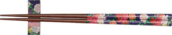 Purple Flowers Chopsticks with Rest