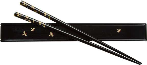 Dragonflies Design Black Japanese Chopsticks and Box Set