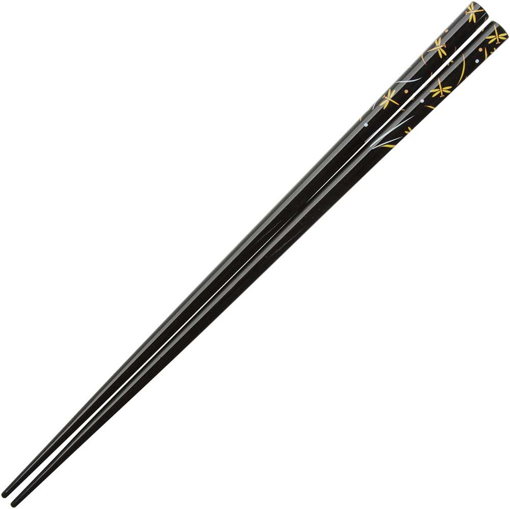Dragonflies in Yellow on Gloss Black Japanese Chopsticks