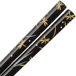 Dragonflies in Yellow on Gloss Black Japanese Chopsticks Black Chopsticks With Yellow Dragonflies, dragonfly chopsticks, black chopsticks, japanese chopsticks, japanese style chopstick