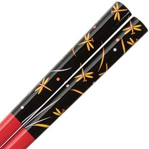 Dragonflies in Yellow on Gloss Red Japanese Chopsticks