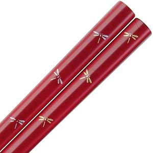 Dragonflies of Gold and Silver on Deep Red Japanese Chopsticks dragonflies chopsticks, japanese chopsticks, japanese style chopstick, red chopsticks, deep red chopsticks, iriedescent chopsticks, gold silver dragonflies chopsticks
