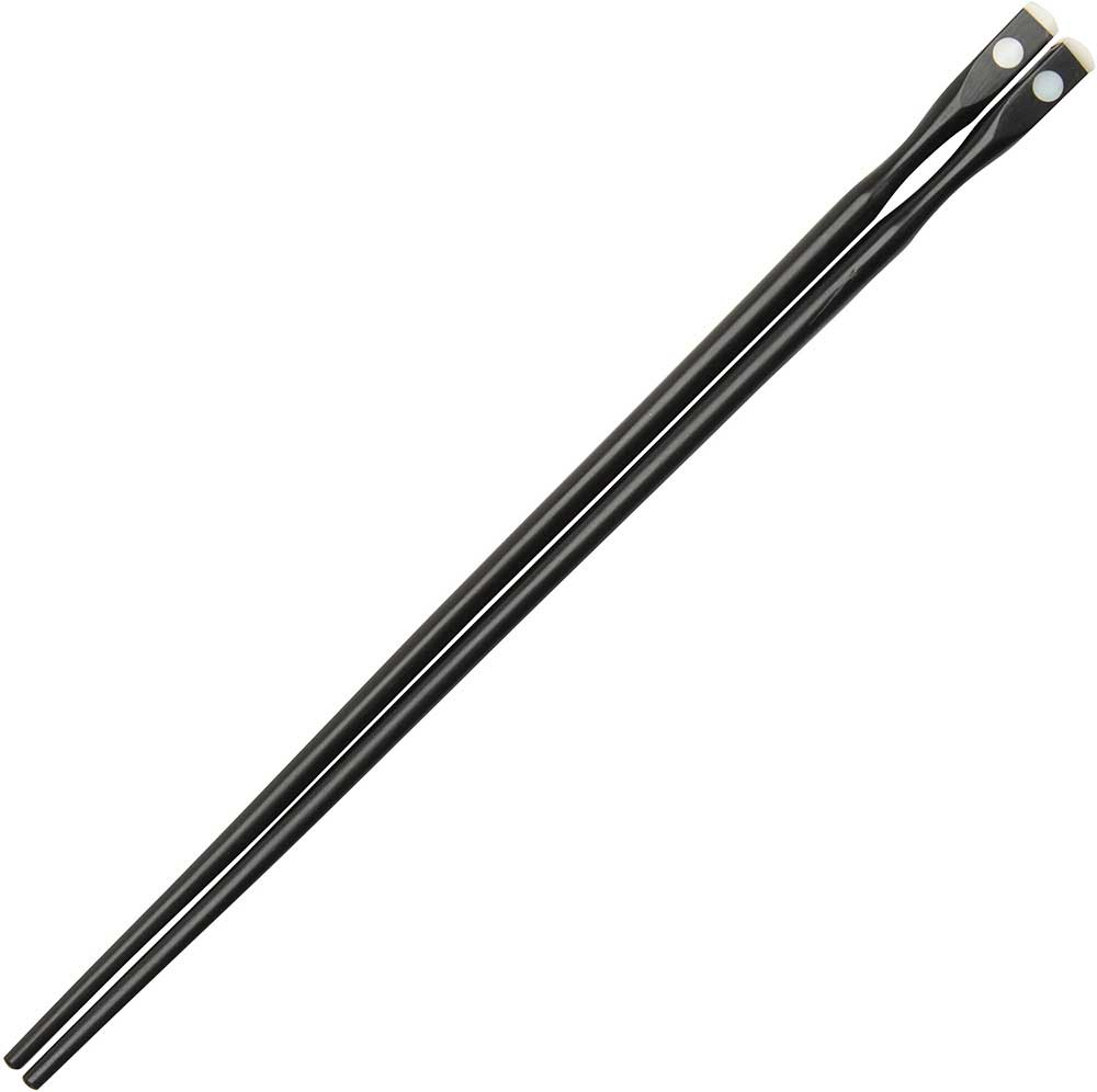 Ebony Hourglass Chopsticks with one Oyster Shell Dot and Crown