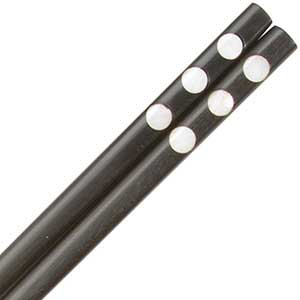 Ebony Wood with Oyster Shell Dots Thai Style Chopsticks Ebony with Oyster Shell Dots chopsticks, Ebony with Mother of Pearl chopsticks, thai style chopsticks, thai style chopstick, chopsticks from thailand, oyster shell chopsticks