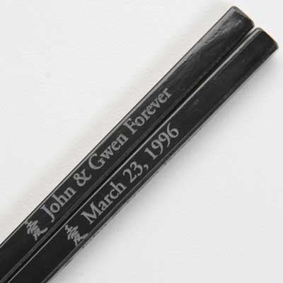 Engraved Black Melamine Personalized Chopsticks