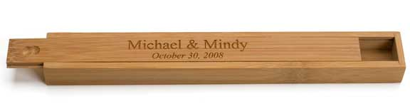 Engraved Personalized Bamboo Chopsticks Box
