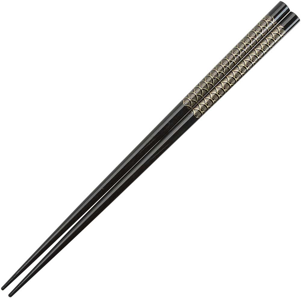 Fan Pattern of Gold on Black Japanese Style Chopsticks