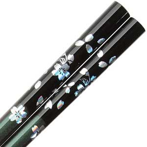 Flowers of Foil on Black over Iridescent Green Purple Chopsticks Iridescent chopsticks, foil chopsticks, Japanese chopsticks, Japanese style chopsticks, flower chopsticks, green chopsticks, purple chopsticks