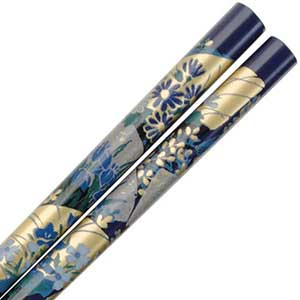 Iris and Fans of Gold on Dark Blue Japanese Chopsticks dark blue chopsticks, blue chopsticks, dark blue chopstick, blue gold chopsticks, Dark Blue Chopsticks with Gold Iris and Fans, Japanese chopsticks