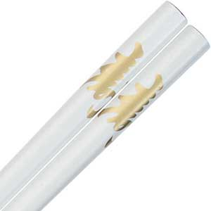 Kotobuki Longevity Kanji on White Japanese Style Chopsticks
