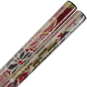 Kyo Yuzen Fabric Wrapped Chopsticks Floral over Black Wood Kyo Yuzen chopsticks, fabric wood chopsticks, Yuzensai chopsticks, Miyazaki Yuzensai fabric chopsticks, Japanese chopsticks, fine chopsticks