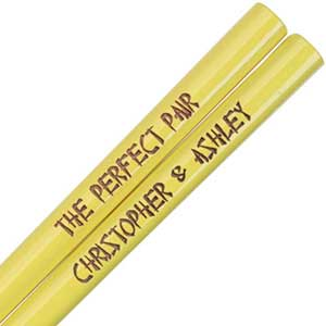 Yellow Engraved Personalized Chopsticks