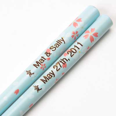Floral Light Blue Engraved Chopsticks