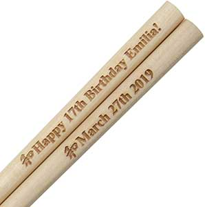 Light Wood Engraved Personalized Chopsticks