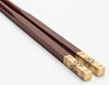 Luxury Chinese Chopsticks Double Happiness Gold and Sandalwood