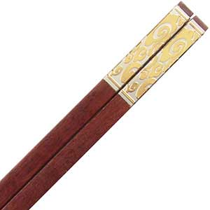 Luxury Chinese Chopsticks Gold Swirls and Sandalwood
