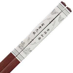 Luxury Chinese Chopsticks Silver Metal Good Luck Sandalwood