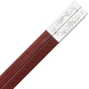 Luxury Chinese Chopsticks Silver with Fish and Sandalwood