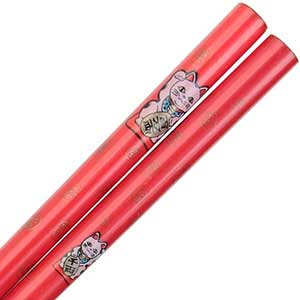 Maneki Neko Lucky Cat on Red Japanese Style Chopsticks