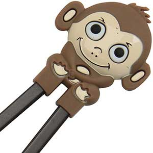 Monkey Fun Childrens Helper Chopsticks Brown