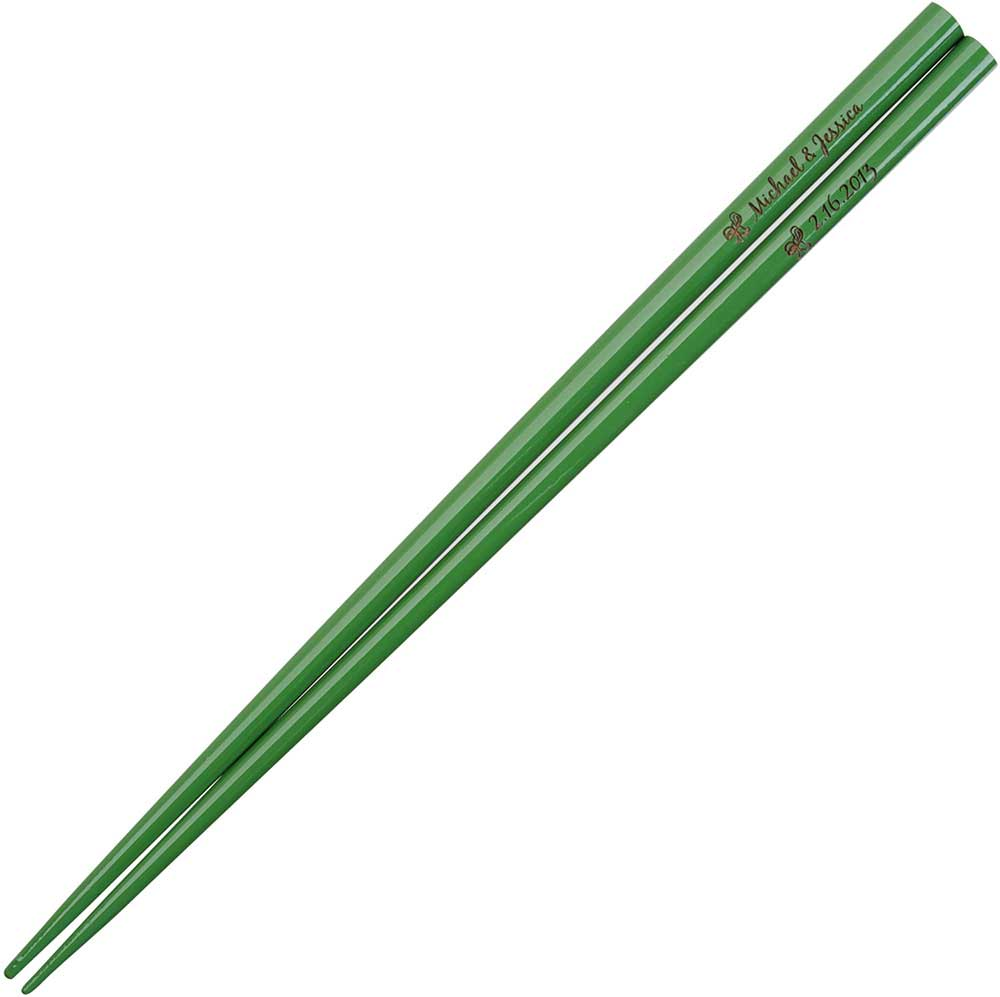 Olive Green Engraved Personalized Chopsticks