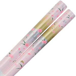 Pink Floral Pattern on White Japanese Style Wedding Chopsticks