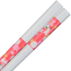 Rabbit Floral Moon Blue on White Japanese Chopsticks