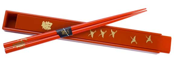 Red Japanese Chopsticks & Box Set with Longevity and Cranes