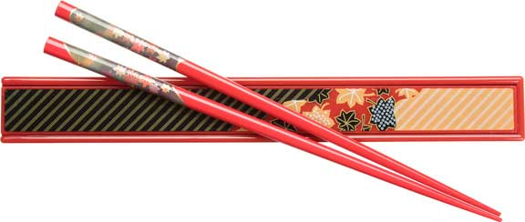 Red Japanese Chopsticks and Box Set with Green Maple Design
