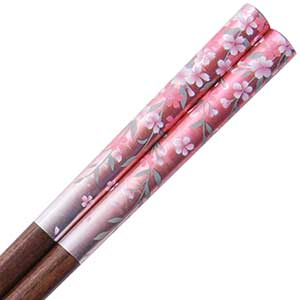 Sakura Pink Silver on Natural Wood Chopsticks
