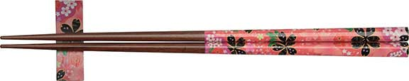 Pink Flowers Chopsticks with Rest