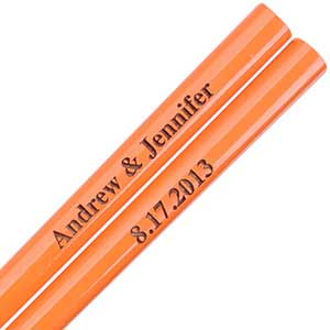 Orange Engraved Personalized Chopsticks