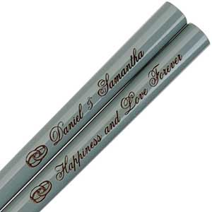 Gray Engraved Personalized Chopsticks