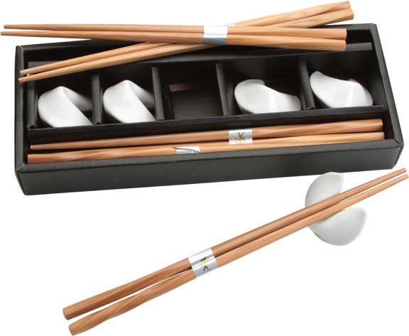 Chopsticks and White Cookie Rests Set