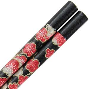 Washi Paper Wrapped Chopsticks Black with Antique Plum