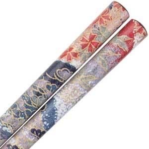 Washi Paper Wrapped Chopsticks Black with Mountain Scenery Black chopsticks, textured chopsticks, washi paper, washi paper chopsticks, Japanese chopsticks