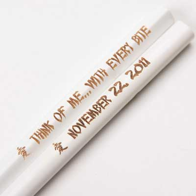 White Engraved Personalized Chopsticks
