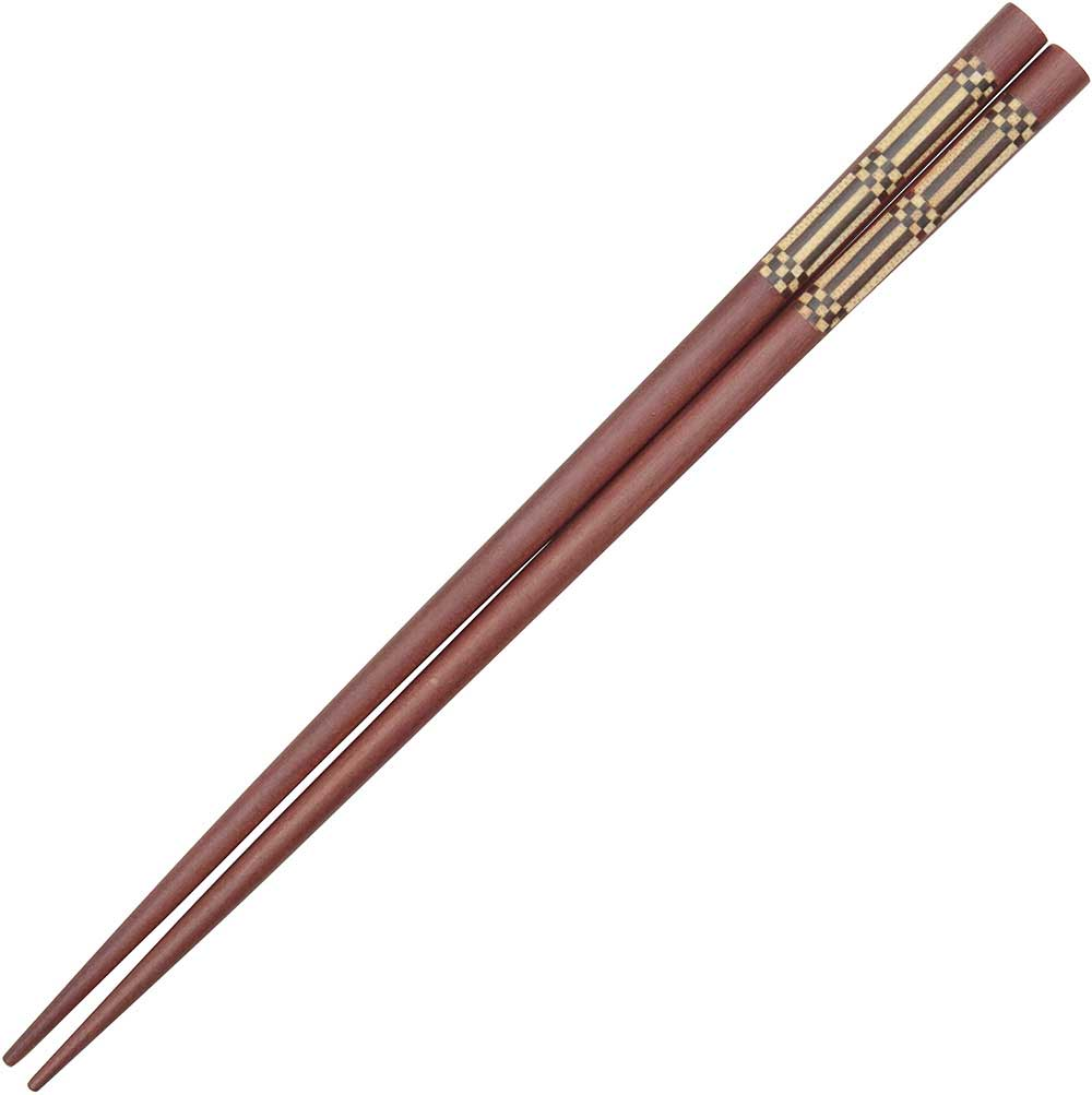 Wooden Chopsticks with Checkerboard and Vertical Lines