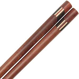 Wooden Thai Chopsticks with Black Slant and Vertical Lines Inlay Thai style chopsticks, thai chopsticks, wooden chopsticks, layered wood chopsticks, brown wood chopsticks, wood chopsticks