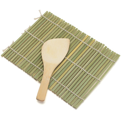 Hand Roll Sushi Mat and Rice Paddle Set (Temaki)