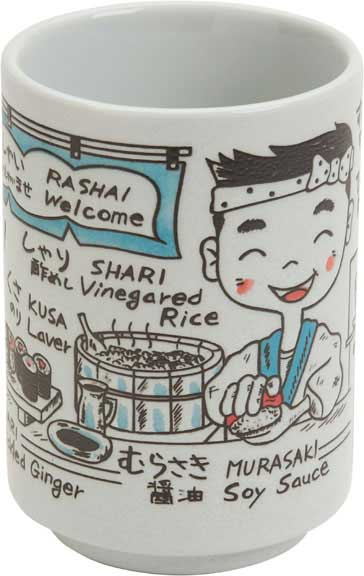 Cup Illustrations of Sushi Talk