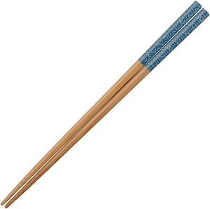 Blue Waves on Lacquered Bamboo Japanese Chopsticks