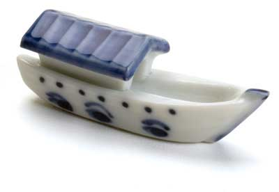 River Boat Japanese Chopstick Rest River Boat Chopstick Rest, boat chopstick rest, blue white chopstick rest, ceramic chopstick rest, Japanese chopstick rest, Japanese chopstick holder, chopstick holder