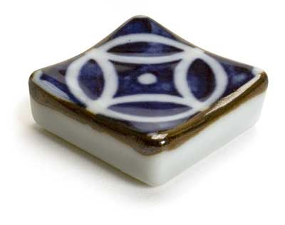 Square with Blue Design Japanese Chopstick Rest